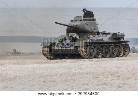 Kolobrzeg, West Pomeranian / Poland - 2019:  Reconstruction Of Battle For Kolobrzeg - The T34 Polish