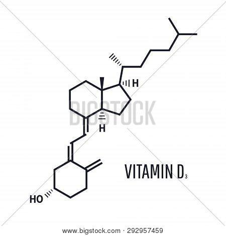 Vitamin D D3, Cholecalciferol Molecule. Skeletal Formula. Vitamin D Formula Is Ensuring The Absorpti