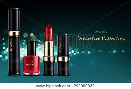 Vector Realistic Cosmetic Promo Poster. Banner With A Female Red Collection Of Makeup Cosmetics, Sca