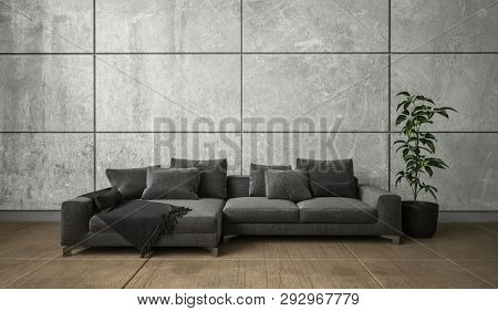 Wide black couch and potted indoor plant on the floor in spacious living room minimalist interior design concept