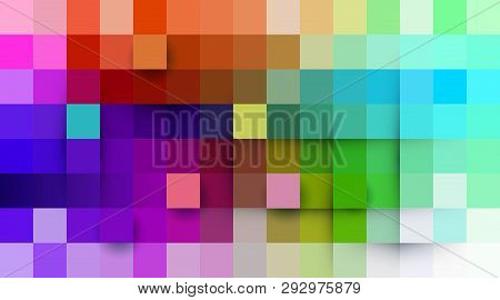 Vector Abstract Pixel Or Geometric Pattern Background. Illustration Of Squares With Color Blue Blurr