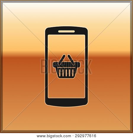 Black Shopping Basket On Screen Smartphone Icon Isolated On Gold Background. Concept E-commerce, E-b