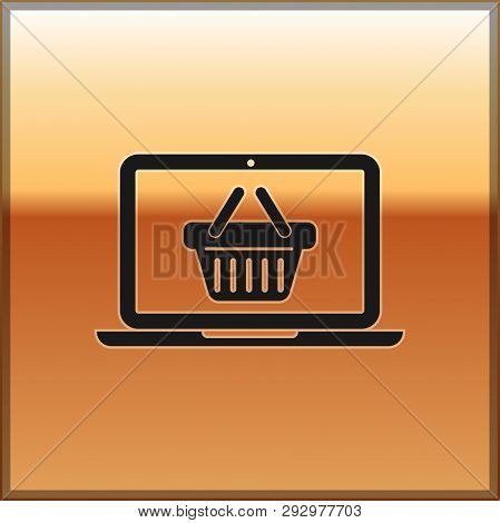 Black Shopping Basket On Screen Laptop Icon Isolated On Gold Background. Concept E-commerce, E-busin