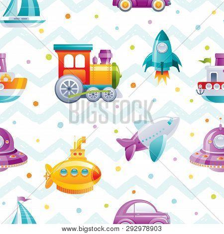 Cartoon Toy Transport Seamless Pattern. Cute 3d Boy Boat, Car, Airplane, Submarine, Sail Ship, Train