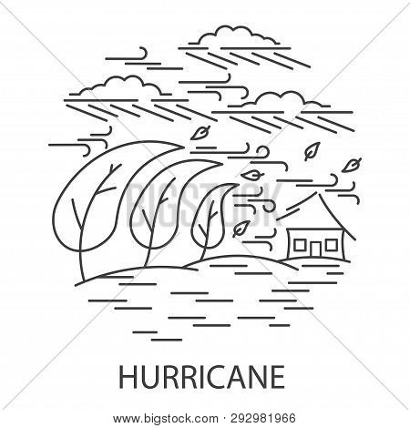 Hurricane Natural Disaster Circle Banner In Linear Style. Compositions Of Hurricane Disaster. Vector
