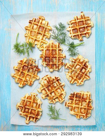 Healthy Breakfast. Savory  Spinach Dill Waffles On A Blue Background. View From Above