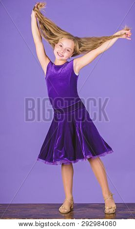Hairstyle for dancer. How to make tidy hairstyle for kid. Things you need know about ballroom dance hairstyle. Ballroom latin dance hairstyles. Kid girl with long hair wear dress on violet background poster
