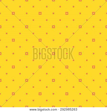 Simple Minimalist Geometric Seamless Pattern With Small Squares, Tiny Dots, Pixels. Vector Abstract