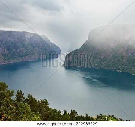 Summer Misty Overcast Fiord Vew From Stegastein Viewpoint (aurland, Sogn Og Fjordane, Norway)