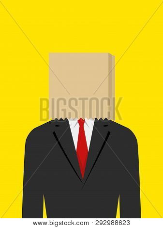 Illustration Of A Businessman With Paper Bag On His Head, Embarrassment, Ashamed, Failure Concept