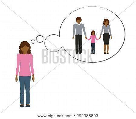 Orphan Girl Is Thinking About Her Family With Mother And Father Vector Illustration Eps10
