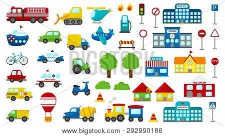 Set Of Cartoon Vector Transportation. Cute Cars: Police, Ambulance, Fire Engine, Truck, Bus. Road Si