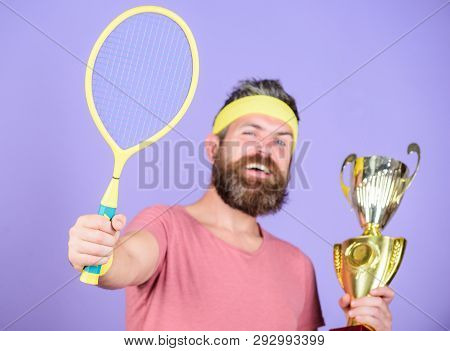 Win Tennis Game. Man Bearded Hipster Wear Sport Outfit. Success And Achievement. Win Every Tennis Ma
