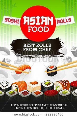 Japanese Sushi Bar Menu, Premium Asian Food Maki And Rolls From Chef. Vector Sushi Set Of Salmon Tem