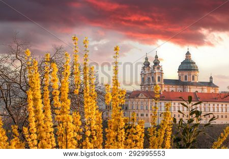 Melk Abbey Against Sunrise During Spring Time In Austria, Wachau Area