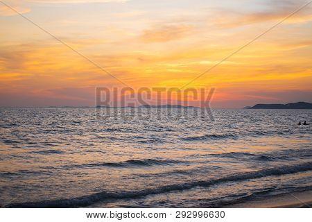 Sea And Sand Morning Beautiful Seascape.summer Time.