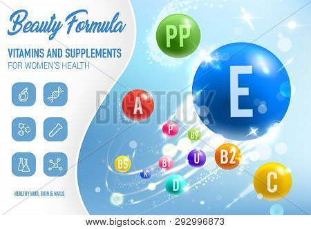 Health Vitamins, Minerals And Dietary Supplements Poster. Vector Woman Beauty, Skin And Nails Health