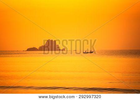 Morning Beautiful Seascape, Sunrise Over Sea On The Beach.