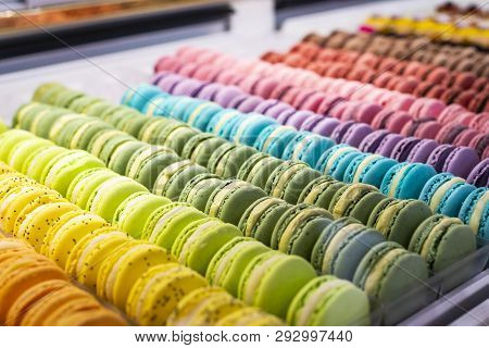 Colorful French Macarons Background, Close Up. Different Colorful Macaroons Background. Tasty Sweet