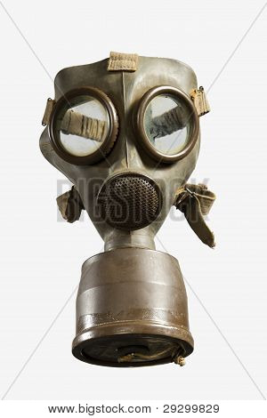World War II Gas Mask isolated on white background poster
