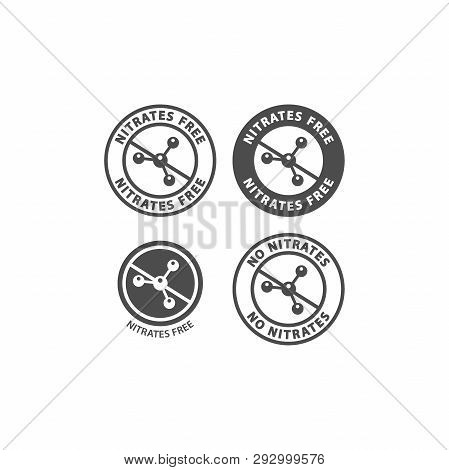 Nitrate Free And No Nitrates Ingredient Circle Label Icon Set. Nitrates Free Vector Badge Sticker Se