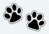 Animal paw prints icons with shadow effect poster