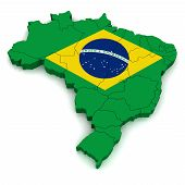 Simple 3D Map of Brazil with Borders poster
