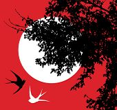 vector illustration of swallows silhouettes and a tree poster