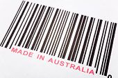 Made in Australia and barcode business concept poster