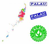 Ecological combination of bright mosaic map of Palau Islands and grunge seals with Nature Reserve caption. Mosaic map of Palau Islands constructed with bright colored butterflies. poster