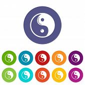 Yin yang symbol taoism icons color set for any web design on white background poster