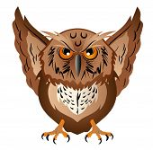 Wise owl with the big head, a sharp beak and predatory claws. Vector illustration. poster
