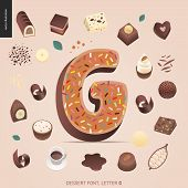 Dessert font - letter G - modern flat vector concept digital illustration of temptation font, sweet lettering. Caramel, toffee, biscuit, waffle, cookie, cream and chocolate letters poster
