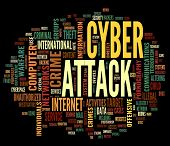 Cyber attack concept in word tag cloud isolated on black background poster
