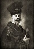 "Rembrandt Harmenszoon van Rijn ""Polish Nobleman"". Reproduction from illustrated Encyclopedia ""Treasures of art"", Partnership «Prosvesheniye», St. Petersburg , Russia , 1906 poster"