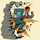 african Leader gadget novation breaks a wall, destroys stereotypes. Moving forward, personal development. Pop art retro vector illustration vintage kitsch poster