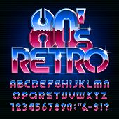 Retro 80s alphabet font. Colorful shiny letters and numbers. Stock vector typescript for your design in 80s style. poster