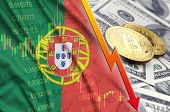 Portugal flag and cryptocurrency falling trend with two bitcoins on dollar bills poster