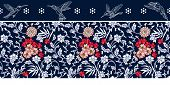 Seamless blue and white lacy border with floral and geometric elements. Oriental design collection. poster