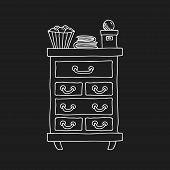 Bureau furniture doodle line vector illustration on black background poster