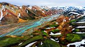 Aerial view landscape of Landmannalaugar surreal nature scenery in highland of Iceland, Europe. Beautiful colorful snow mountain terrain famous for summer trekking adventure and outdoor walking. poster