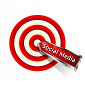 Social Media Concept. Red dart hitting a target. Vector sign. poster