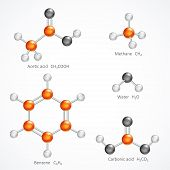 Illustration of 3d molecular structure, ball and stick molecule model acetic acid, methane, water, benzene, carbonic acid, isolated on white background, stock vector graphic poster