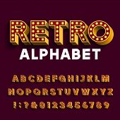 Retro light bulb alphabet font. 3D letters with light bulbs and long shadows. Vector typescript for your design. poster