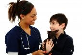 Happy Boy Gets Pet Chihuahua Back From Veterinarian over White Background poster