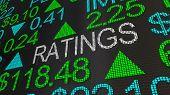 Ratings Grades Scores Stock Market Ticker 3d Illustration poster