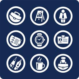 Affaires et icônes du bureau (set de 5, partie 1)