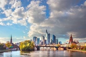 Frankfurt am Main, Germany - scenic view of corporate downtown district at sunset