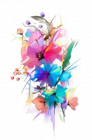 Abstract Oil Painting Flower And Leaf. Illustration Isolated Of Spring, Summer Flowers Paint Design
