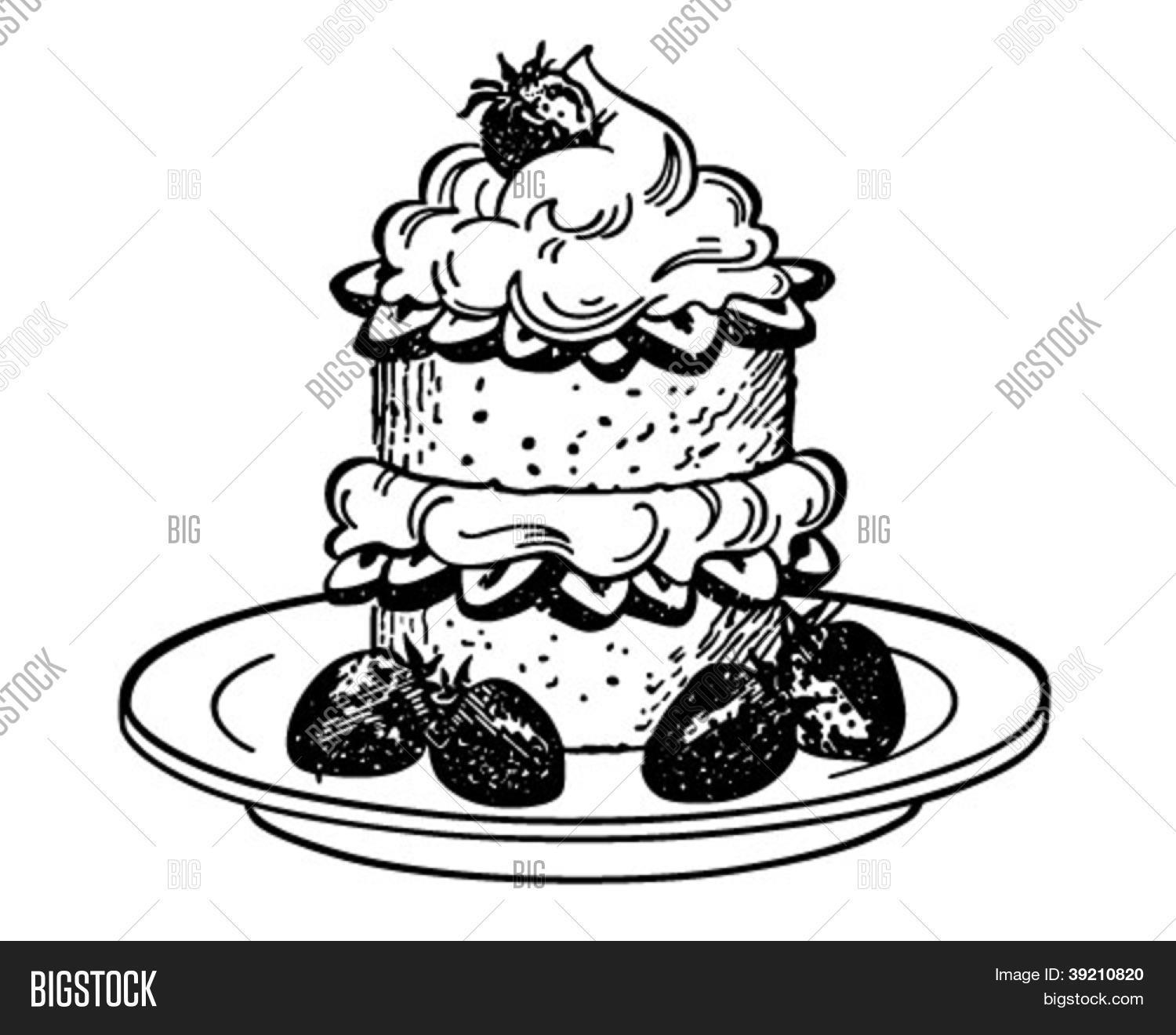 Strawberry Shortcake Dessert - Vector  for Clipart Strawberry Black And White  131fsj